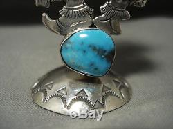 One Of Most Detailed Vintage Navajo Turquoise Silver Kachina Pendant Pin Statue
