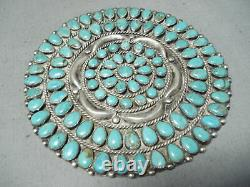 One Of The Biggest Best Vintage Navajo Turquoise Sterling Silver Pin