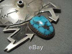 Opulent Vintage Zuni'lightning Strike' Turquoise Silver Mask Pin Old