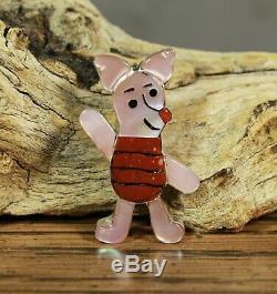 PIGLET Pin Pendant Zuni artist Paula Leekity inlay Zunitoons Winnie-the-Pooh