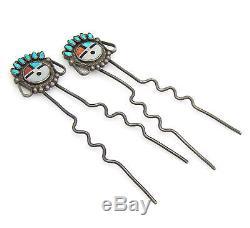 Pair 2 Old Pawn Zuni Handmade Sterling Silver Mosaic Sunface Inlay Hair Pins G I