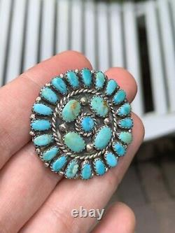 Petit Point LARRY MOSES BEGAY LMB Sterling Silver & Turquoise Pin/Pendant