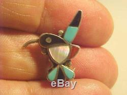 Precious Ellen Quandelacy (1924-2002) Hummingbird Pin- ZUNI- Inlay