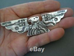 RARE Native American Sterling Silver Thunderbird Whirling Logs Stamped Pin