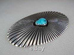 RARE OLD George Kee NAVAJO RADIANT STERLING SILVER & TURQUOISE PIN White Hogan