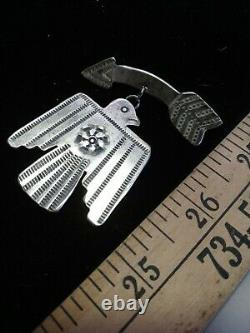 RARE OLD PAWN VINTAGE NAVAJO FRED HARVEY STERLING THUNDERBIRD PIN. With Arrow