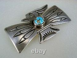 RARE OLD Wolf Robe Hunt ACOMA INDIAN STERLING SILVER & TURQUOISE THUNDERBIRD PIN