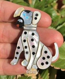 RARE Old Pawn Zuni Dalmatian Dog COBBLESTONE Inlay Pin Brooch Pendant Carol Kee