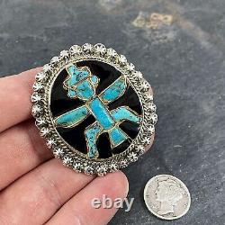 RARE Vintage Zuni Sterling Silver Turquoise & Jet Knifewing Necklace Pendant Pin