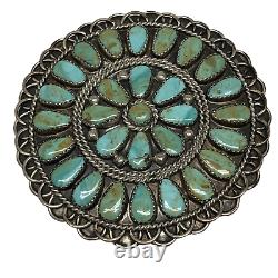 RT Hallmark Navajo Sterling Silver Turquoise Cluster Southwest Pin Pendant