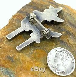 RaRe! C. 1950s Zuni BOWMAN PAYWA Sterling Silver Mosaic Inlay ANTELOPE Pin Brooch