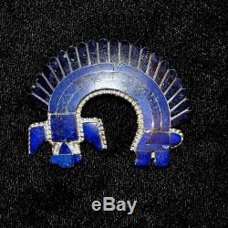 Rainbow Dancer S/S & Lapis Zuni Inlay Pendant/Pin by Fabian & Vivica Bowannie 2