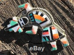 Rainbowman ZUNI Pin Pendant Eldred Martinez Silver Native Southwest Rainbow Man