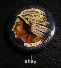 Rare 1910 Gold Bond Beer Cuyahoga County Cleveland Oh Native American Indian Pin