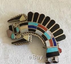 Rare 1970s 2 Zuni Rainbow Man pendant/pin Margie Quinton Quam sterling 10g