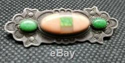 Rare Aldrich Art Sterling Silver Coral Turquoise Pin