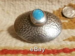 Rare Fred Harvey Era Old Pawn Navajo Sterling Silver & Turquoise Scarf Slide Pin