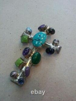 Rare Navajo Nakai Cross Turquoise Amber Multi Stone Sterling Silver Pendant Pin