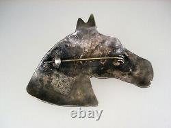 Rare Old Navajo Sterling Silver & Turquoise Horsehead Pin Brooch