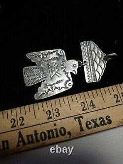 Rare Old Pawn Vintage Navajo Fred Harvey Sterling Thunderbird Pendant W Cloud