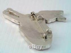 Rare Vintage Zuni Virgil & Shirley Benn Sterling Inlaid Stone Fox Pin Pendant