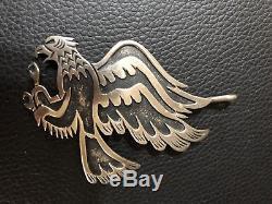 Rare Vtg Navajo Thomas Tommy Singer Sterling Silver Eagle Pendant Pin Brooch
