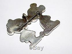 Rare Zuni MICKEY & MINNIE Sterling Silver Inlaid Stone Pin Pendant ZUNI TOONS