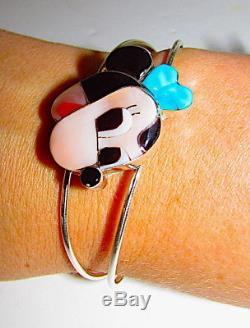 Rare Zuni MINNIE MOUSE Sterling Inlaid Stone Bracelet Zuni Toons Paula Leekity