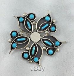 Rare Zuni Native American Veronica Martza Sterling Turquoise &Enamel Pendant/Pin
