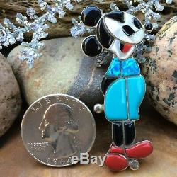 Rare Zuni Sterling Silver Inlaid Mickey Mouse Turquoise Inlaid Pendant Pin Wow