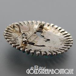 Ray & Eva Wyaco Zuni 925 Silver Turquoise Needlepoint Floral Round Pin Pendant
