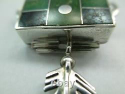 Ray Tracey Knifewing Sterling Silver Inlaid Turquoise Pendant Pin Sign 844D