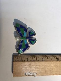 Ray Tracey Sterling Silver Navajo Inlay Turquoise Pearl Lapis Butterfly Pin