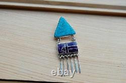 Ray Tracey turquoise and purple spiny oyster inlay pin brooch sterling silver