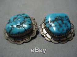 Remarkable Vintage Navajo Turquoise Sterling Silver Mean's Cufflinks