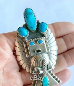 Richard Singer Navajo 940 Sterling Silver Turquoise Kachina Pendant Bolo Pin