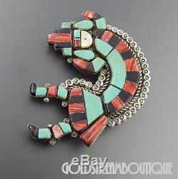 Ronnie Willie Navajo Sterling Silver Turquoise Spiny Oyster Kachina Pin Pendant