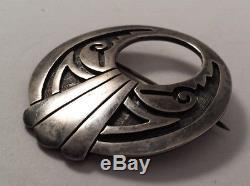 Roy Talaheftewa Vintage Hopi Sterling Silver Pictograph Pin Brooch