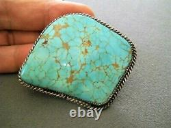 S. KING Native American Navajo Spiderweb Turquoise Sterling Silver Pin Brooch