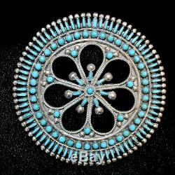 S/S & Turquoise Zuni Needlepoint Pin/Pendant by Vincent & Socorro Johnson