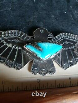 Sale Old Pawn Vintage Navajo Fred Harvey Sterling Turquoise Thunderbird Pin 4