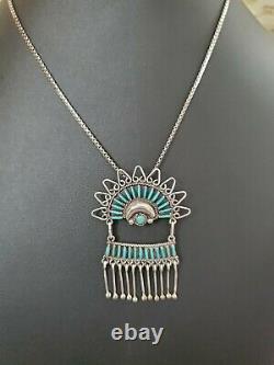 Sanchez Zuni Sterling Silver Needlepoint Turquoise Pin Pendant Necklace