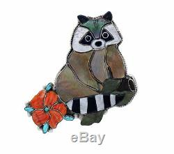 Shirley Benn, Pin, Pendant, Raccoon, Multi Stone Inlay, Tewa Handmade, 2.5
