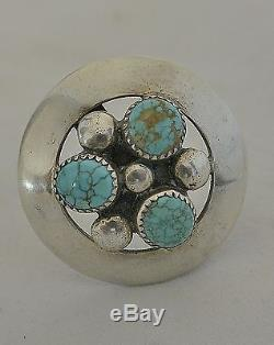 Signed FRANK PATANIA PIN Brooch with3 NUMBER EIGHT MINE TURQUOISE Sterling Silver