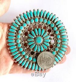 Signed JM Zuni Huge Sterling Silver Turquoise Cluster Brooch Pin 3 3/8 64 Grams