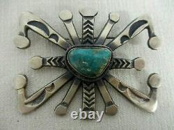 Signed M Pete Morgan Navajo Native American Sterling Silver Turquoise Brooch