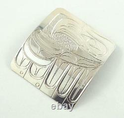 Signed N. W. Coast Indian Sterling Silver Eagle Motif Pendant or Brooch Pin