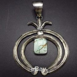 Signed NAVAJO Sterling Silver & Dry Creek Turquoise PENDANT with Double Naja