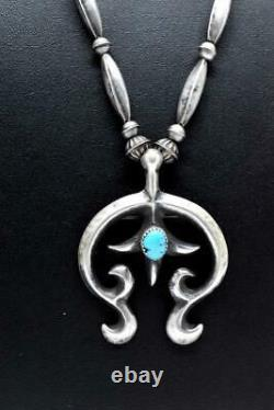 Signed Native American Sterling Bench Bead Necklace Turquoise Naja Pendant Pin
