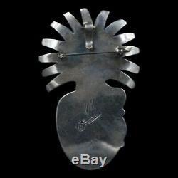 Signed Navajo Old Pawn Natural Turquoise Sterling Silver Kachina Pendant/Pin